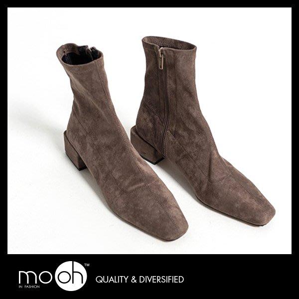 彈力短靴 麂皮絨面短靴拉鍊粗跟彈力靴 咖啡色 mo.oh