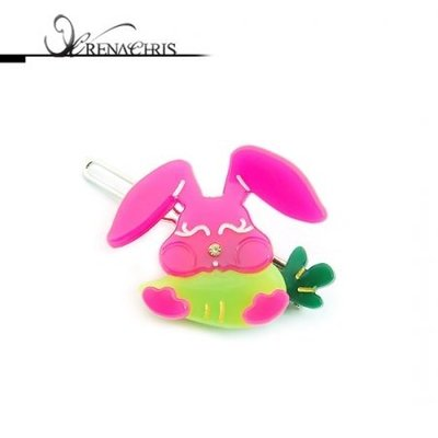 BHI958-法國品牌RenaChris 施華洛世奇晶鑽紅蘿蔔兔髮夾 邊夾 扣夾【韓國製】