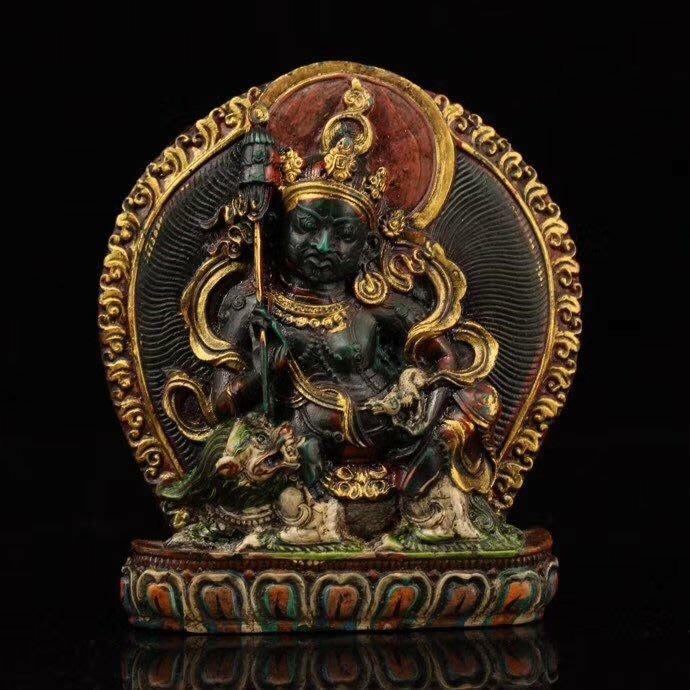 一0421  西藏寺院收老擦擦彩繪描金【財寶天王】一尊 重171克 高10.5釐米 寬9.5釐米