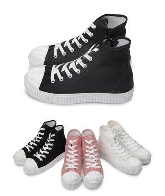 富發牌。女鞋。1CP48 高筒貝殼頭帆布鞋 (全白/粉/黑) (23-25.5號)~nanakids娜娜童櫥