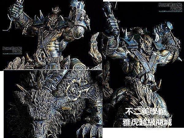 【格倫雅】^極品 收藏奧格瑞瑪 魔獸世界暴雪模型手辦wow 狼騎雕像模型 仿銅1646