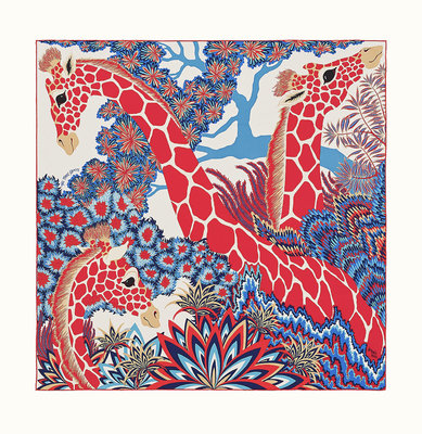 [現貨/預購]Hermes Three Graces scarf 90愛馬仕美惠三女神福祿壽開運招財 長頸鹿絲巾紅藍