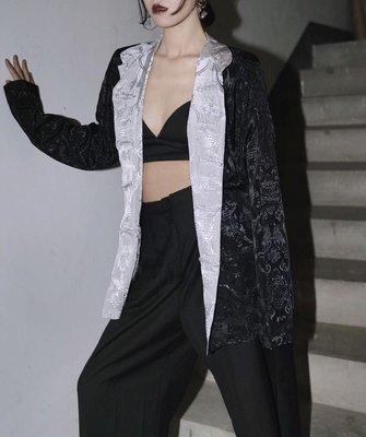 【黑店】原創設計 中國風雙面可穿緞面翻領外套 休閒西裝外套 暗黑系絲滑緞面寬鬆外套 個性穿搭 兩面可穿ZY113