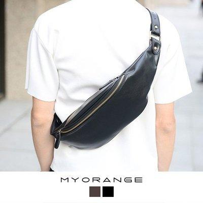 MyOrange. 柳丁~FEW9162~愜意潮流~帥氣休閒皮革腰包胸口包~2色
