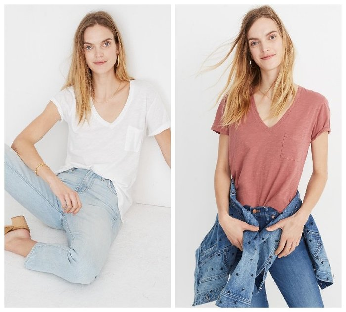 【BJ.GO】美國 madewell Whisper Cotton V-Neck Pocket Tee 棉質口袋素T