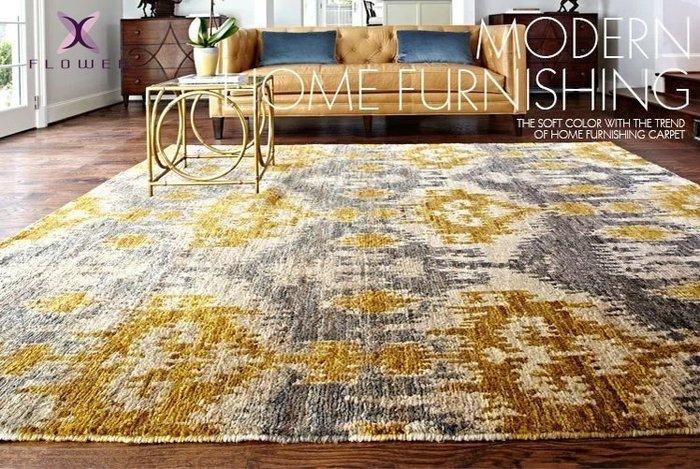 【夏法羅 傢飾】印度進口 法式 美式鄉村 抽象 文藝復興款 設計師最愛 臥室 餐廳 地毯 床邊毯 PFG-2-04