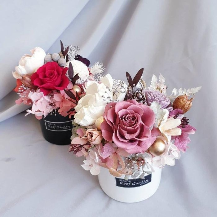 《Roof Garden Workshop》【預購】韓式永生玫瑰盆花/情人節花禮/情人節禮物/開春花禮