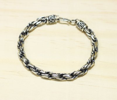 銀革手作 925 純銀 平銼 批角 扭麻繩 扭繩 手鏈