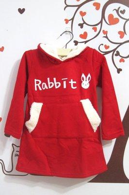 賠本出清 棉質內刷毛長版兔耳帽洋裝/棉T/上衣/童T 現貨 尺碼 7