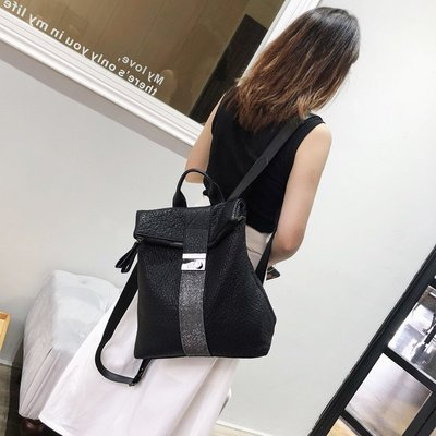 Ordinary shop 簡約 時尚 新款香港 真皮雙肩包女 新款羊皮大容量旅行背包軟皮百搭女士包包出行必備