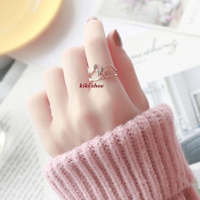 ♥kiki choc♥*鈦鋼材質*可愛GOOD LUCK立體幸運星星雙環雙圈戒指食指戒關節戒指 指環