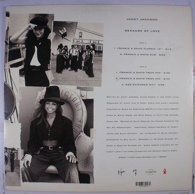 《二手美版單曲黑膠》Janet Jackson - Because Of Love