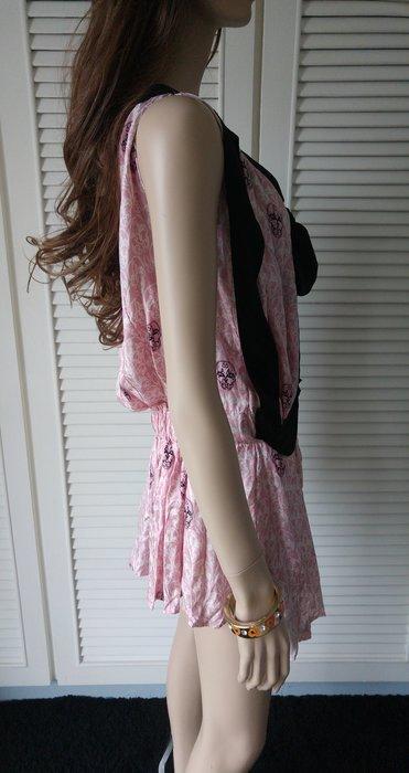 THOMAS WYLDE 100% Silk 粉紅色黑蝴蝶結骷髏頭無袖洋裝