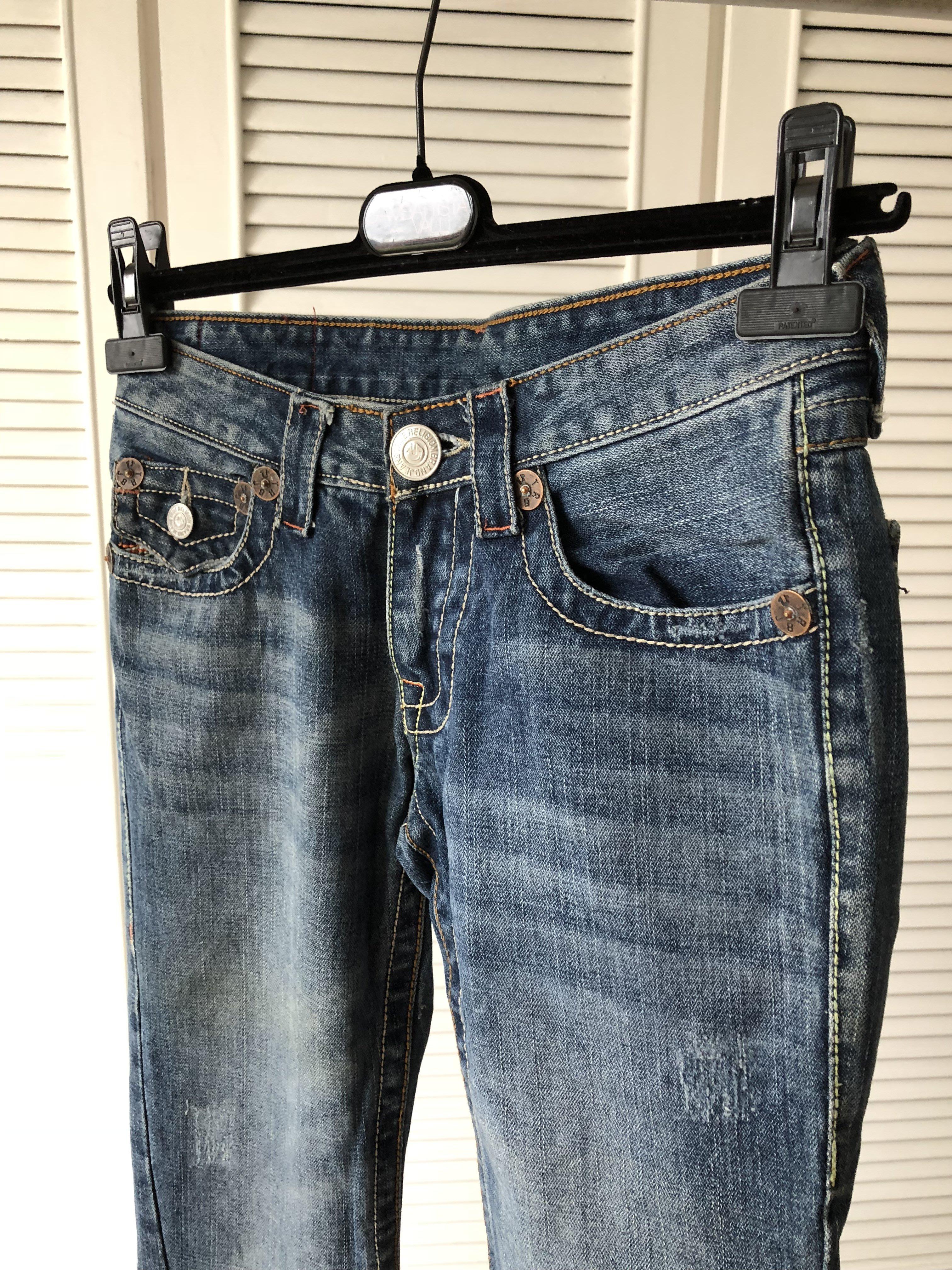 【TRUE RELIGION 】超美超正點立體刷色翹臀七彩縫線直筒牛仔褲JOEY 26