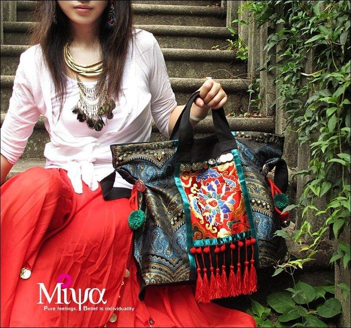 竹竹中國服飾--原創新款民族包包手提包流蘇包單肩包帆布包中國風女包 紅妝 (特價品)
