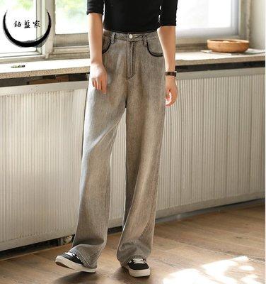 【鈷藍家】恆久單寧牛仔直筒褲復古做舊高腰水洗灰色長腿褲顯瘦垂感黑描邊撞色軟牛仔長褲秋新 內包邊淨縫