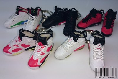 =CodE= 全新AIR JORDAN 6 小鞋模型鑰匙圈(白.紅.黑).櫻木.CARMINE.奧運.吊飾.NIKE.AJ6.OG
