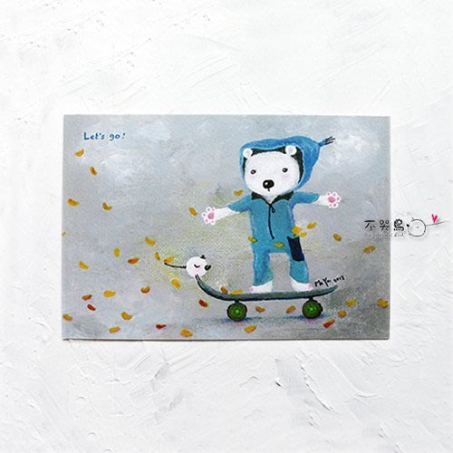 卡片 明信片*熊-Let's go!*不哭鳥