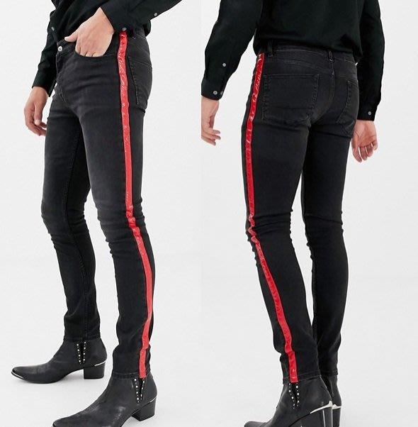 ◎美國代買◎ASOS紅色條紋裝飾褲管刷白色設計復古英倫時尚刷色紅色條紋黑刷色合身牛仔褲~歐美街風~大尺碼~