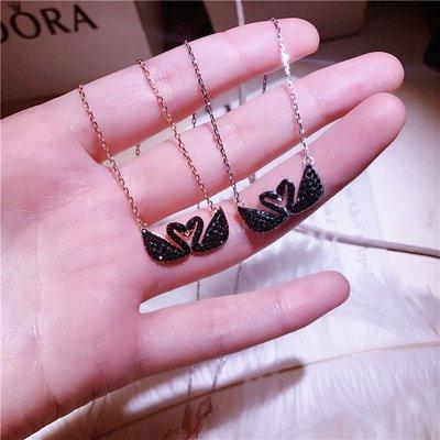 【潮包】黑天新款鵝項鍊大牌純銀微鑲黑鋯石鎖骨鍊飾品女歐美風格