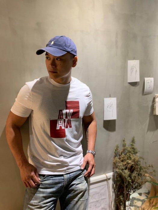 【蟹老闆】AX Armani Exchange 男短袖 銀十字紅塊 白色