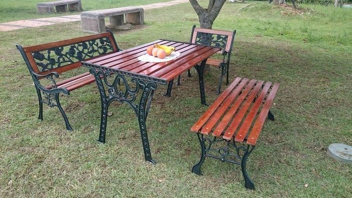 [兄弟牌戶外休閒傢俱]雙人玫瑰鑄鐵公園椅+四尺鑄鐵公園桌+四尺無背公園椅+鑄鐵玫瑰單人椅~優惠套裝價,熱銷中
