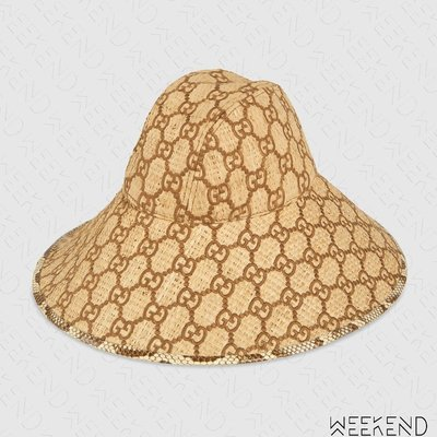 【WEEKEND】 GUCCI GG Wide Brim 編織 蛇皮 異材質拼接 帽子 棕色 19春夏 577904
