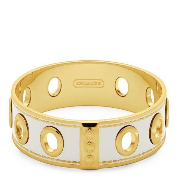 破盤清倉大降價!全新正品 COACH 白底琺瑯配金色金屬中寬版手環,低價起標無底價!本商品免運費!