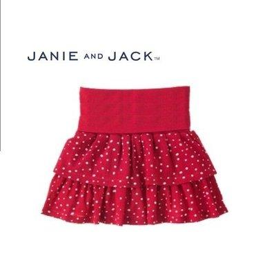 Janie and Jack酒紅色白點蛋糕裙 3-6M 18-24M【K6】