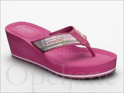 Coach Poppy Shoes粉紅色輕便厚底人字夾腳拖鞋涼鞋海灘鞋楔型鞋5.5號 22.5號 免運 愛Coach包包