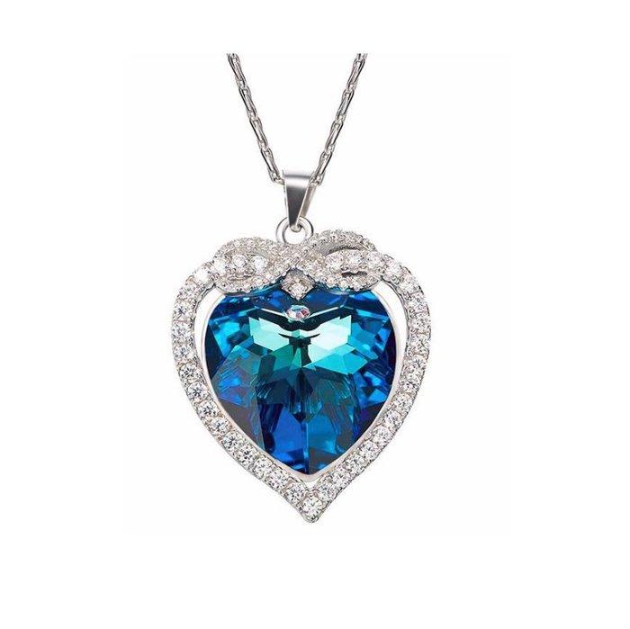 Natela 歐美設計925銀 海藍蝴蝶結 閃耀鑽  鍍白金 施華洛世奇元素水晶 飾品女生配件 吊墜 防過敏 獨家設計