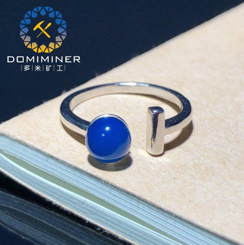 【四季】多米藍珀開口戒指女琥珀純天然925銀正品時尚