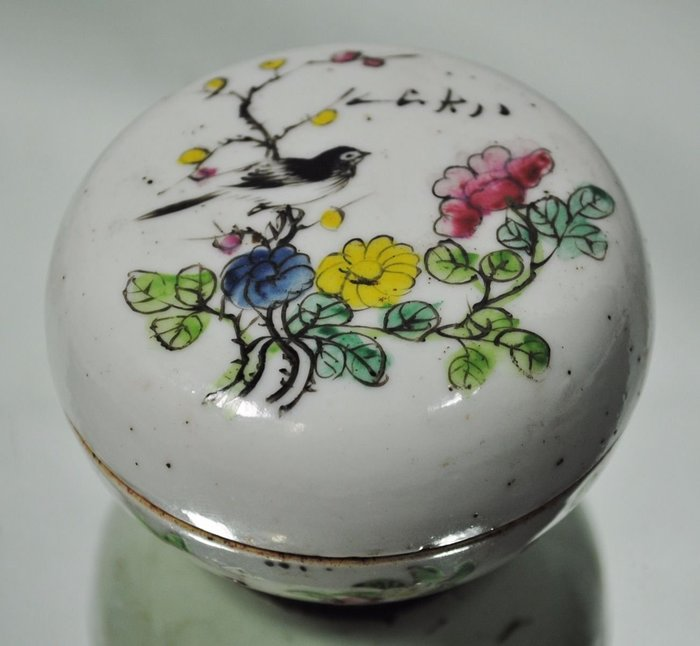 大世紀古董店  民國初年  八大山人 粉彩  印泥盒