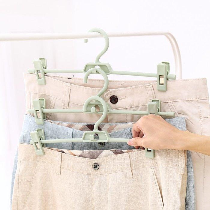 3個裝家用褲架褲夾多功能省空間衣架防滑無痕帶夾子褲子收納褲掛