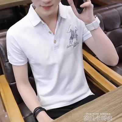 夏季男士短袖T恤Polo衫男翻領半袖潮流帥氣襯衫領上衣服修身男裝 (全館免運)