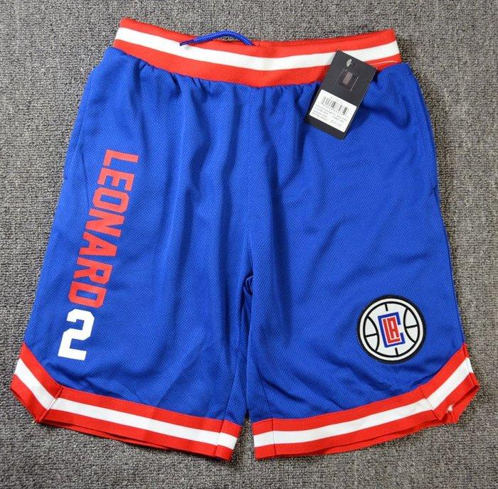 NBA籃球青年短褲 洛杉磯快艇隊  LEONARD 口袋版 運動籃球褲 藍色 正版