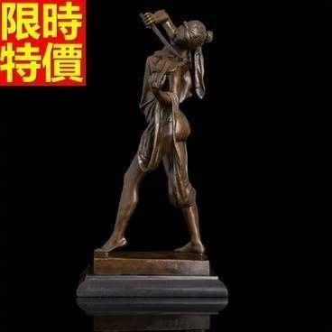 銅雕擺件 拉提琴的少女-歐式藝術品味擺設雕塑工藝品66v32[獨家進口][巴黎精品]