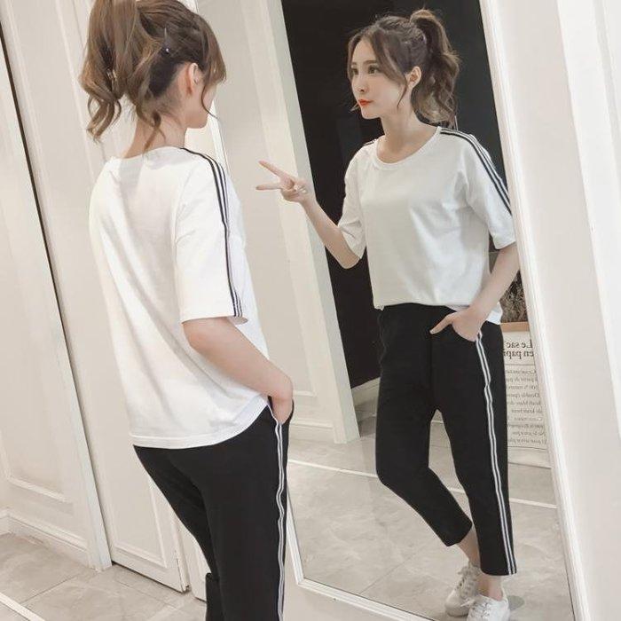 2018夏季新款韓版學生大碼寬松BF時尚九分褲運動休閑套裝女兩件套