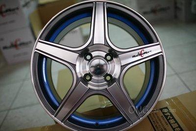 +OMG車坊+HR4~全新鐵灰車面藍邊16吋鋁圈~4X100,114~7J~ET40(各式落地胎,中古胎,歡迎洽詢)YARIS