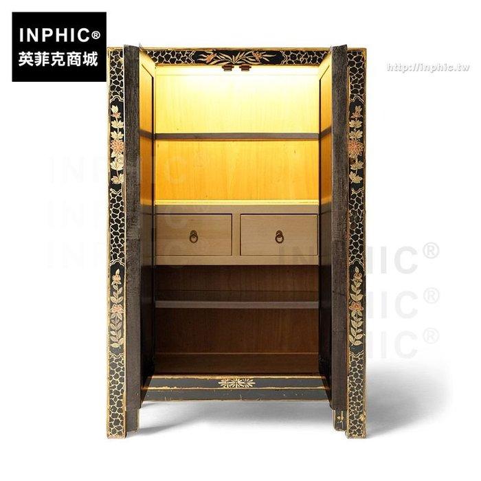 INPHIC-多功能玄關蝴蝶鞋櫃大容量儲物櫃中式實木裝飾櫃-黑色內燈系統2屜2玻璃隔板_SSJ3