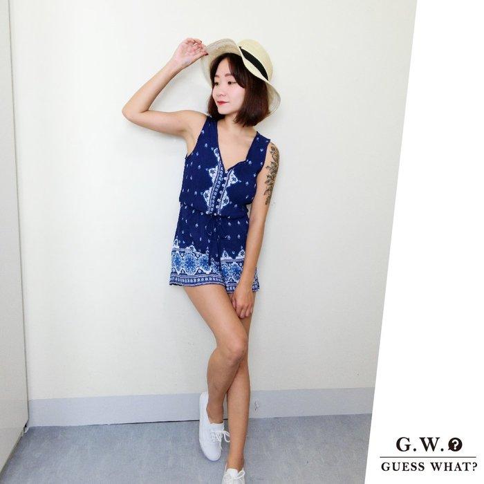 GW 深藍色波西米亞風圖騰 無袖背心連身褲 連身短褲 闊腿褲 渡假風 F尺寸 GUESSWHAT