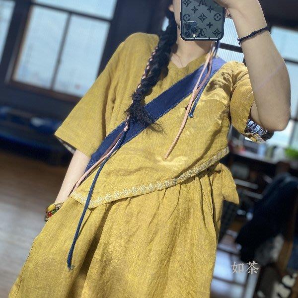 【如茶】設計師品牌夏品質刺繡苧麻連身裙