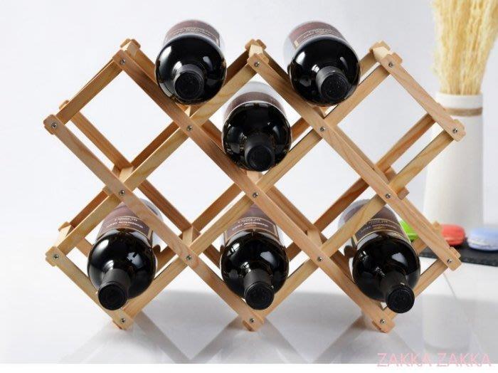 折疊木酒架 酒瓶架子 10瓶裝 紅酒架 歐式紅葡萄酒架 電視柜酒柜吧台裝飾佈置 客廳餐廳居家擺飾♡幸福底家♡