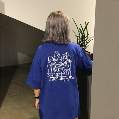 2018韓版夏季ulzzang寬松原宿bf風卡通印花寬松潮 短袖T恤學生女