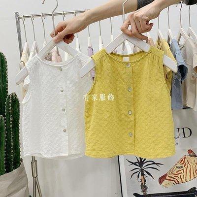 有家服飾寶寶襯衫2019新款男女童夏裝純棉小背心童裝嬰幼兒童襯衣百搭上衣