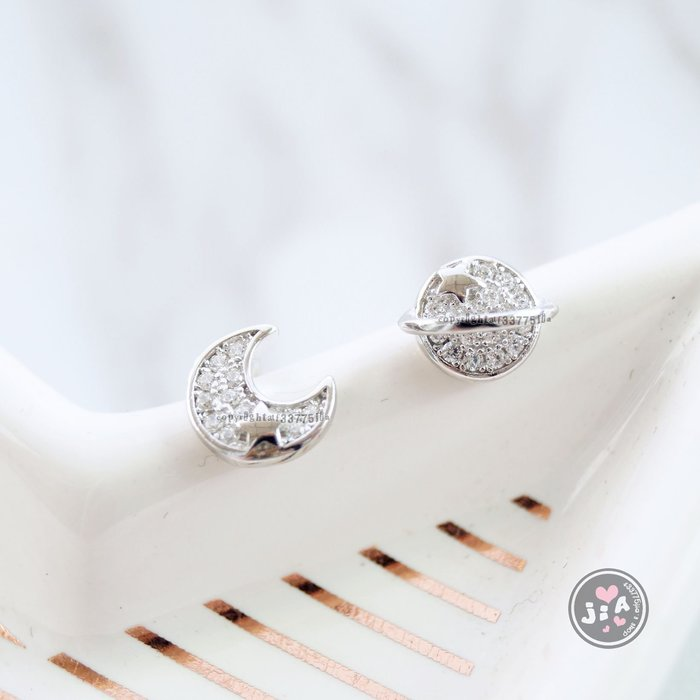 【Jia' s】月亮星球滿鑽鋯石星星純銀耳環耳針S925。正生純銀