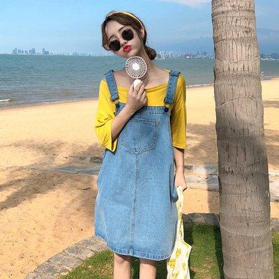 怪獸背帶裙中長款小清新韓版chic學院裙子女夏學生牛仔