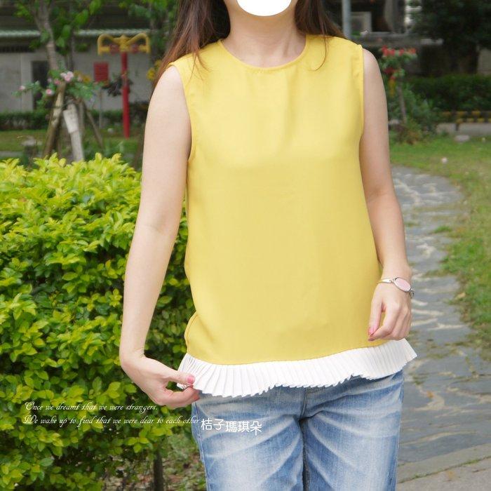 正韓 馬卡龍色 百褶裙下擺 滑布上衣(黃、橘紅、天藍)~桔子瑪琪朵。惠衣