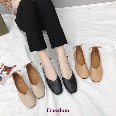 Freedom女鞋豆豆鞋子女2018新款平底一腳蹬女鞋溫柔鞋正韓百搭仙女方頭奶奶鞋