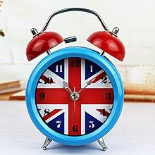 【四季居家用品】創意英國旗金屬打鈴鬧鐘靜音夜燈 國旗懶人床頭桌面座時鐘表